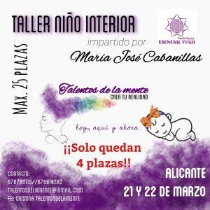 TALLER SANACIÓN NIÑO INTERIOR – 21 y 22 DE MARZO – ALICANTE @ ESENCIAL YOGA